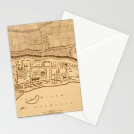 Map Of Montreal 1758 Stationery Cards