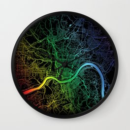 Cincinnati, OH, USA, City, Map, Rainbow, Map, Art, Print Wall Clock