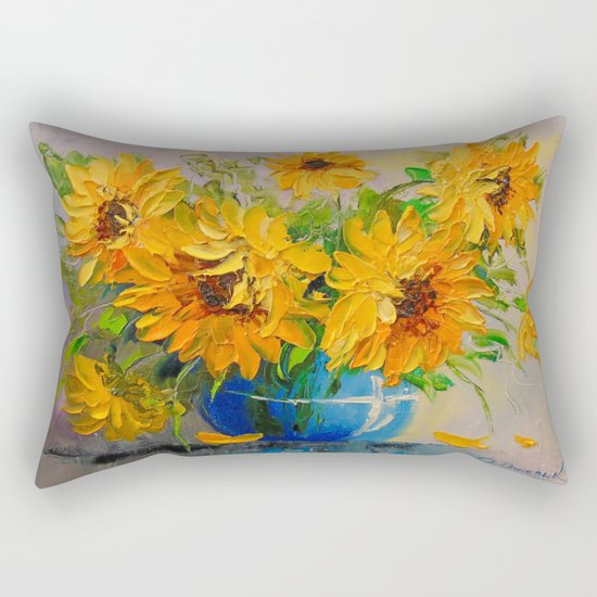 Bouquet of sunflowers in a vase Rectangular Pillow