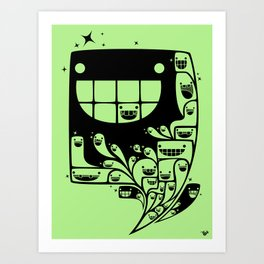 Happy Inside - 1-Bit Oddity - Black Version Art Print