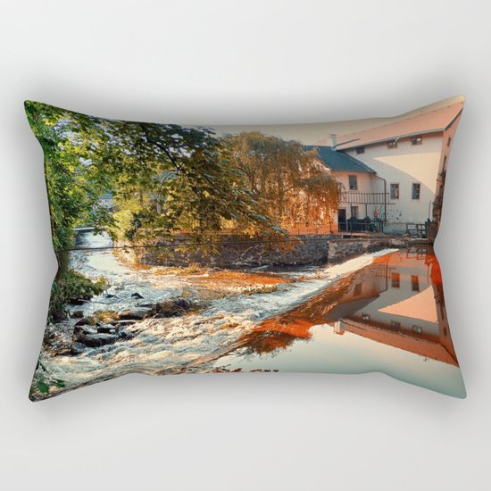The river, a country house and reflections | waterscape photography Rectangular Pillow