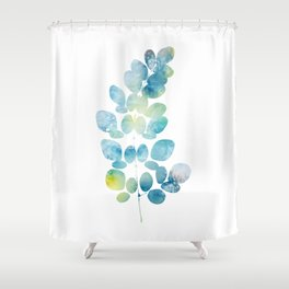 Blue Watercolor Leaves Shower Curtain