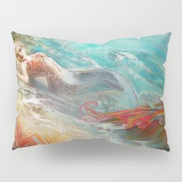 Mermaid sunbathing on the beach fantasy Pillow Sham