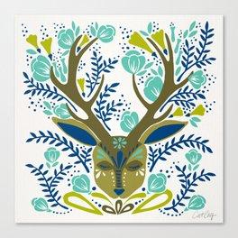 Floral Antlers – Earth Tones Palette Canvas Print