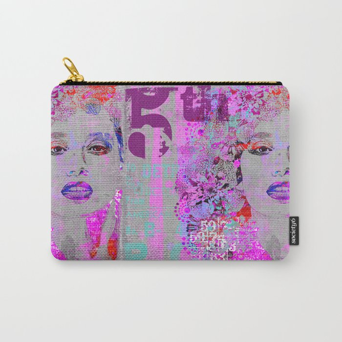 Flower Girl mixed media art grey pink Carry-All Pouch