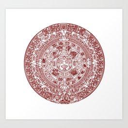 Aztec Calendar // Maroon Art Print