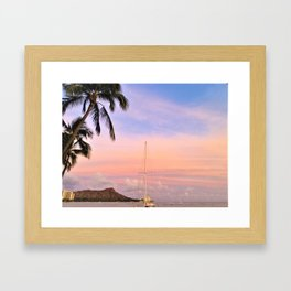 Pastel Skies Over Diamond Head Framed Art Print