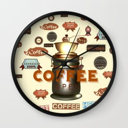 coffee poster vector illustration in retro style Wall Clock