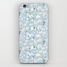 Blossom and Birds Blue Grey and Pale Coral iPhone Skin