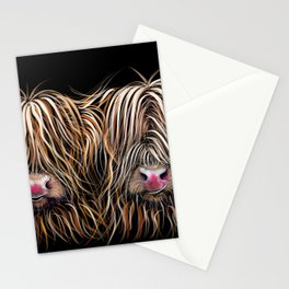 SCoTTiSH HiGHLaND CoWs ' BiLL & TeD ' by SHiRLeY MacARTHuR Stationery Cards