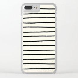 Horizontal Ivory Stripes II Clear iPhone Case
