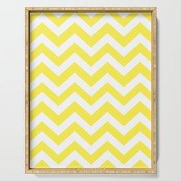 Lemon yellow - yellow color - Zigzag Chevron Pattern Serving Tray