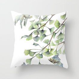 Mint Green Ginkgo Leaves and Green Goldfish Watercolor Design Throw Pillow