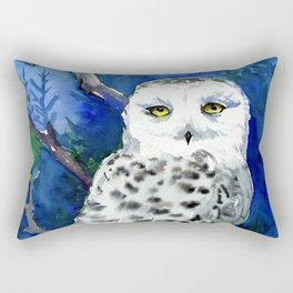 Snowy Owl, Northern Owl, White Owl, Owl art Winter woodland Rectangular Pillow