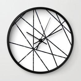 Black marble geometric lines Wall Clock