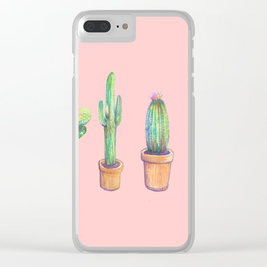 four water color cactus in pink Clear iPhone Case