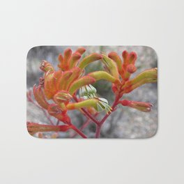 Orange Kangaroo Paw Flowers Bath Mat
