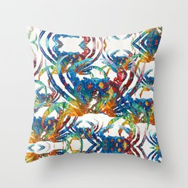 Bright Colorful Crab Collage Art by Sharon Cummings Throw Pillow