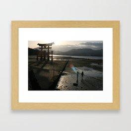 Miyajima Torii at Sunset Framed Art Print