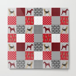Airedale Terrier Cheater Quilt -  patchwork, airedale, dog, blanket, cute design Metal Print