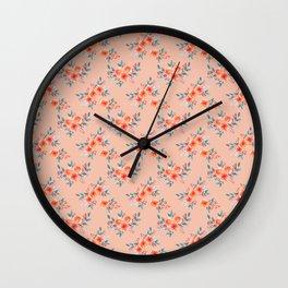 Hand painted orange teal watercolor peonies flowers Wall Clock