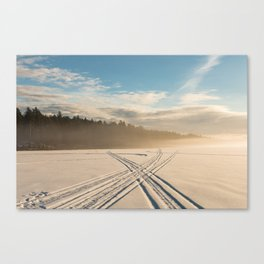Crossing tracks on snow covered frozen lake Canvas Print