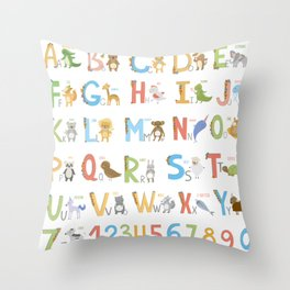 Animals Alphabet Throw Pillow