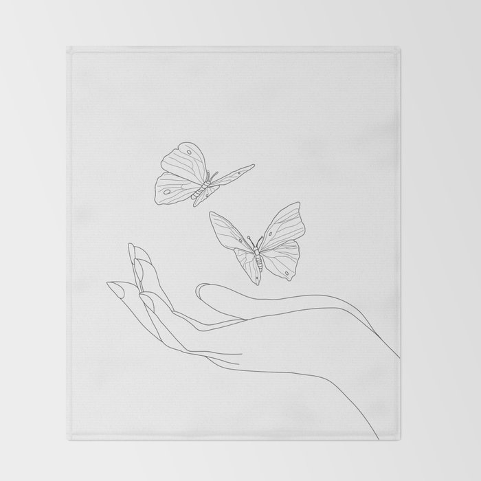 Butterflies on the Palm of the Hand Throw Blanket