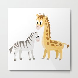 Safari Baby Zebra and Giraffe Metal Print