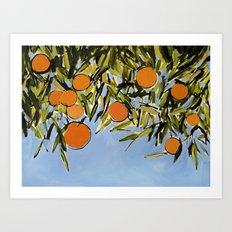 Orange Grove (Blue) Art Print