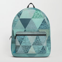Glamorous Blue Glitter And Foil Triangles Backpack