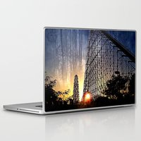 coasters Laptop & iPad Skins featuring Mamba Roller Coaster at Sunset Grunge by The Eclectic Mind