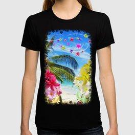 Tropical Beach and Exotic Plumeria Flowers T-shirt