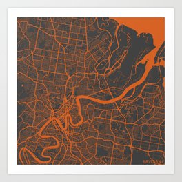 Brisbane Map Art Print