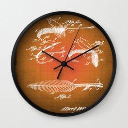 Fly Fishing Bait Patent Blueprint Drawing Sepia Wall Clock