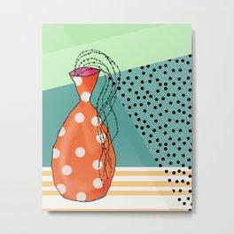 Orange Spotted Vase #1 Metal Print