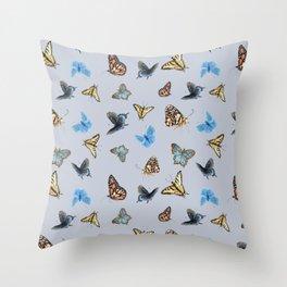 Blue Butterfly Pattern Throw Pillow