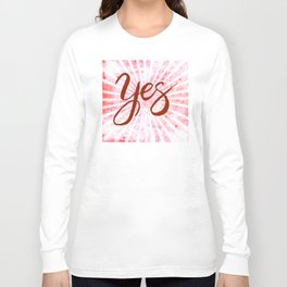 Yes, Red Grunge Rays Word Art Long Sleeve T-shirt