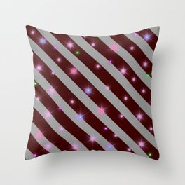 Silver stripes and maroon pattern Throw Pillow