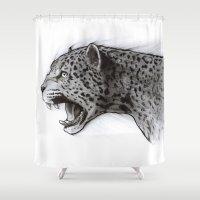 jaguar Shower Curtains featuring Jaguar Charcoal by Puddingshades