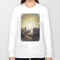rowing Long Sleeve T-shirts featuring Rugged fisherman by HappyMelvin