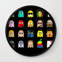 pac man Wall Clocks featuring pac man by sEndro
