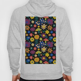60's Country Mushroom Floral in Black Hoody