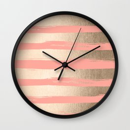 Painted Stripes Tahitian Gold on Coral Pink Wall Clock