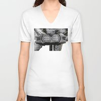 warhammer V-neck T-shirts featuring Medieval knight with a warhammer by digital2real