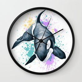Born Free Orca Whale Splash Watercolor Wall Clock