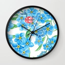 Forget me not seamless floral pattern Wall Clock