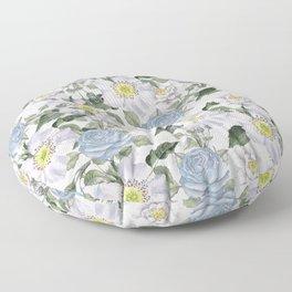 Vintage Roses Blue Floor Pillow
