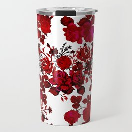 Botanical romantic red black elegant roses floral Travel Mug