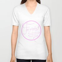 feminist V-neck T-shirts featuring Feminist by paperdreamland